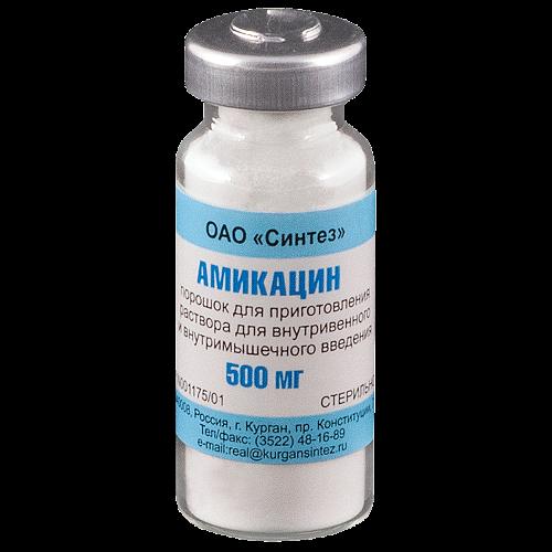 Амикацин порошок флакон для раствора 500мг в/м, в/в