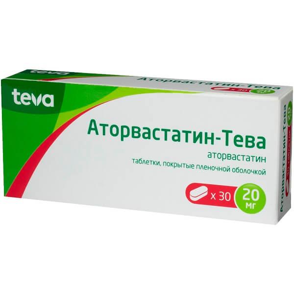 Аторвастатин-Тева (таб.п.пл/об.20мг №30)