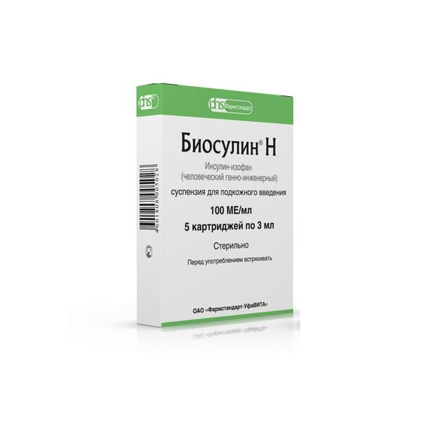Биосулин Н суспензия 100МЕ/мл 3мл №5