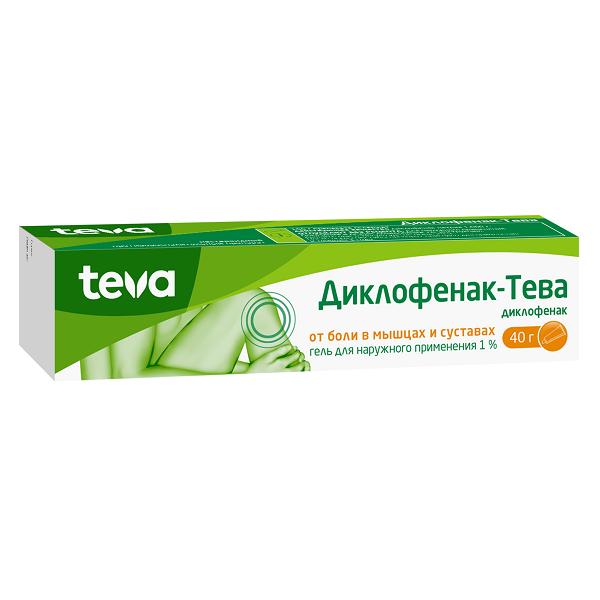 Диклофенак-Тева гель (туба 1% 40г)