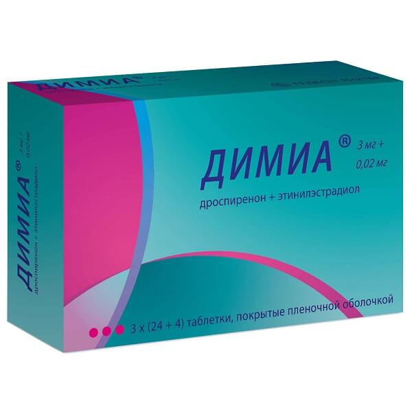 Димиа (таб. п/о плён. 3 мг+0,02мг №84)