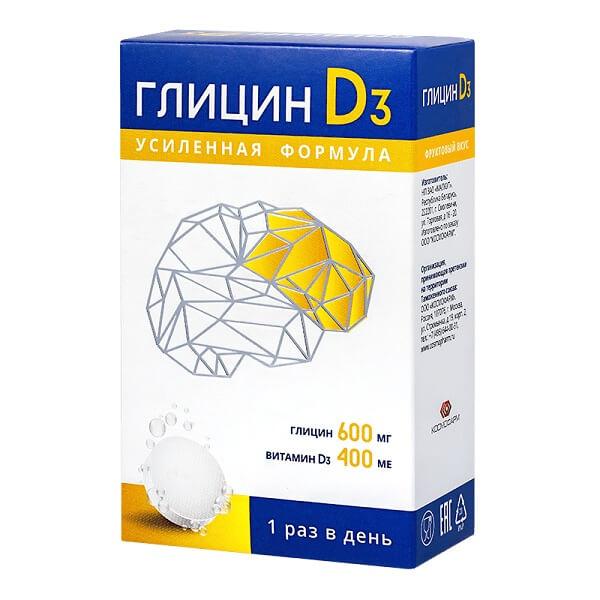 Глицин D3 (таб.быстрораст.600мг+400МЕ №12)