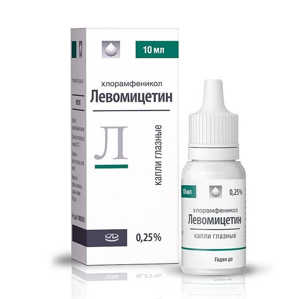 Левомицетин 0,25% флакон -капельница 10мл глазные капли