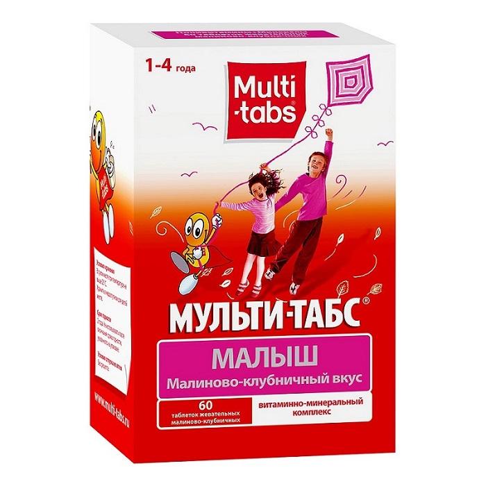 Мульти-табс Малыш таблетки жевательные №60 (малина-клуб.)