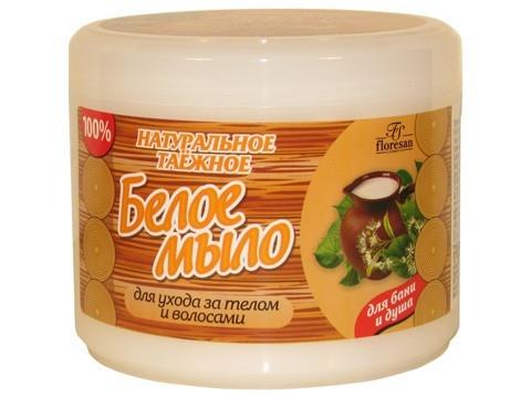 Мыло натуральное белое таежное (банка 450г д/бани