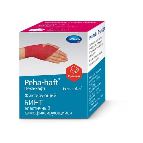 Хартманн бинт Пеха-Хафт фиксирующий эластичный красный 4мх6см фото
