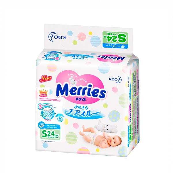 Подгузники MERRIES (р.s 4-8кг №24)