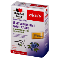 Купить Доппельгерц Актив Витамины для глаз Лютеин+Черника капсулы 1180мг №30, Германия