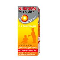 Купить Нурофен суспензия Клубника 100мг/5мл 200мл для детей, Великобритания