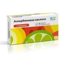 Купить Аскорбиновая кислота (таб. №20 с глюкозой), РОССИЯ