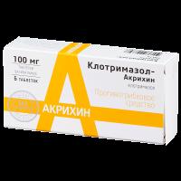 Купить Клотримазол-Акрихин таблетки вагинальные 100мг №6, РОССИЯ