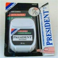 Президент зубная нить (отбел. с папаином 50м)